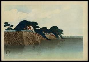 Fritz Capelari Woodblock - Pine Trees and Moat