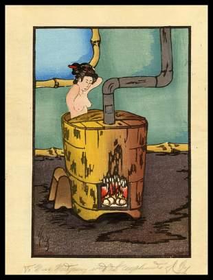 Vincent Hack Woodblock - A Warm Bath