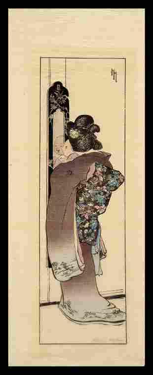 Helen Hyde Woodblock - The Mirror