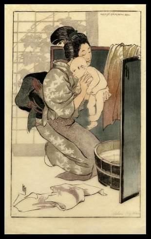 Helen Hyde Woodblock - The Bath
