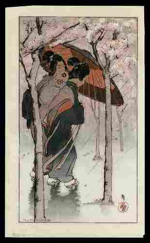Helen Hyde Woodblock - Cherry Blossom Rain