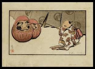 Helen Hyde Woodblock - Teasing the Daruma