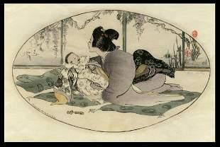 Helen Hyde Woodblock - Baby Talk