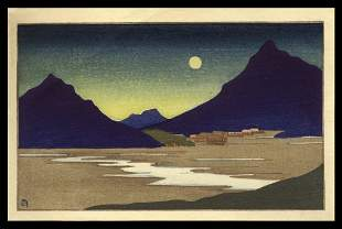 Lilian May Miller Woodblock - The Crescent Moon, Korea