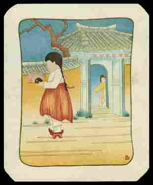 Lilian May Miller Woodblock - By the Little Gate, Korea