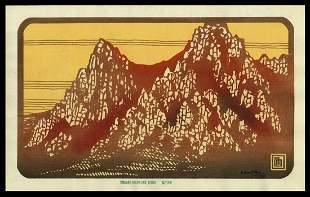 Lilian Miller Woodblock - Diamond Mountains, Autumn