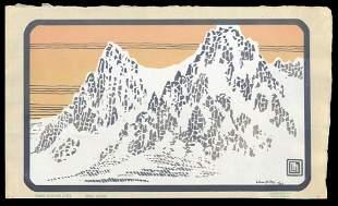 L. Miller Woodblock - Diamond Mountains, Snowy Morning