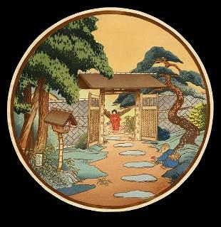 Lilian May Miller Woodblock - Garden Gate, Omori Japan