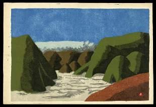 Umetaro Azechi Woodblock - View of Oonogahara Field