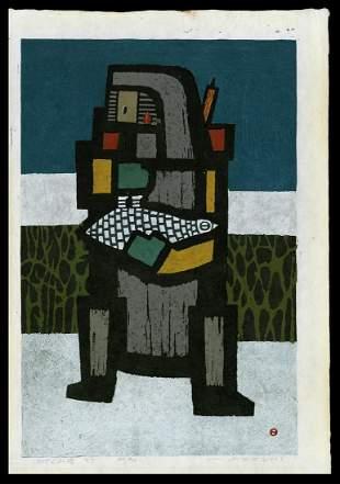Umetaro Azechi Woodblock - Grieved Mountain Man