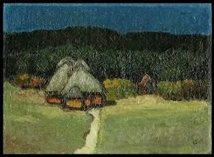 Umetaro Azechi Oil On Panel - Houses in the Evening