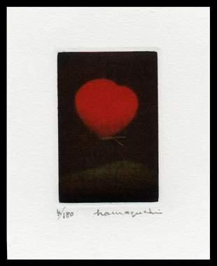 Yozo Hamaguchi Color Mezzotint - Crimson Butterfly