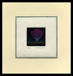 Yozo Hamaguchi Color Mezzotint - Violet Butterfly