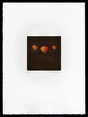 Yozo Hamaguchi  Mezzotint - Three Butterflies (Orange)