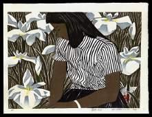 Okiie Hashimoto Woodblock - Girl and Iris