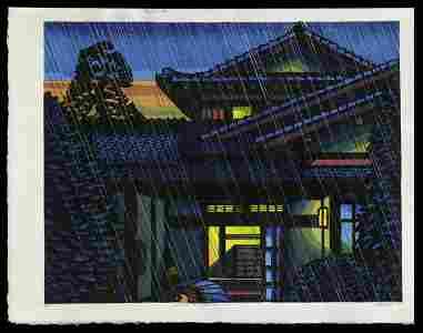 Clifton Karhu Woodblock - House in Takaido