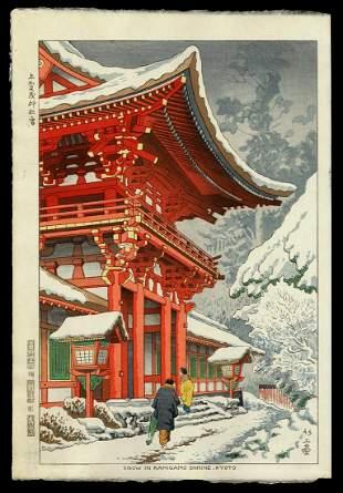 Takeji Asano Woodblock - Snow in Kamigamo Shrine