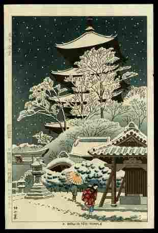 Takeji Asano Woodblock - Snow in Toji Temple