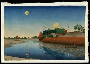 Charles Bartlett Woodblock - Taj-Mahal, Twilight