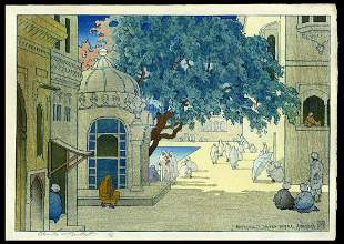 Charles Bartlett Woodblock - Entrance to Golden Temple