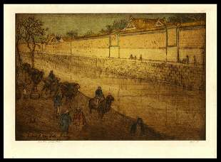 Charles W. Bartlett Etching  -  Imperial City Wall