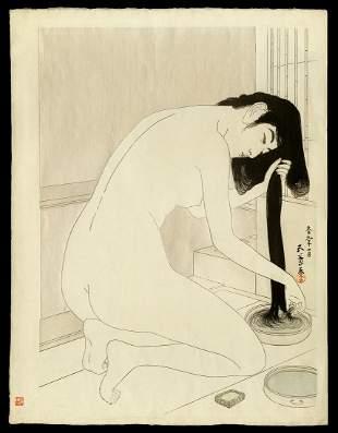 Hashiguchi Goyo Woodblock - Woman Washing Her Hair