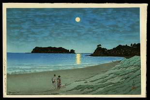 Kawase Hasui Woodblock - Shichirigahama, Soshu