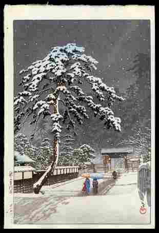 Kawase Hasui Woodblock - Honman Temple, Ikegami