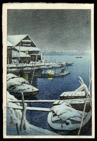 Kawase Hasui Woodblock - Snow at Mukojima