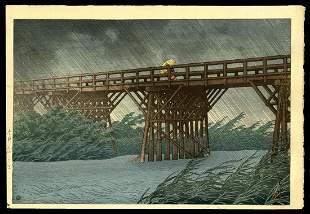 Kawase Hasui Woodblock - Shower at Imai Bridge