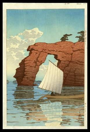 Kawase Hasui Woodblock - Zaimoku Island, Matsushima