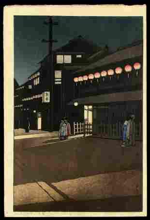 Kawase Hasui Woodblock - Evening at Soemon-cho