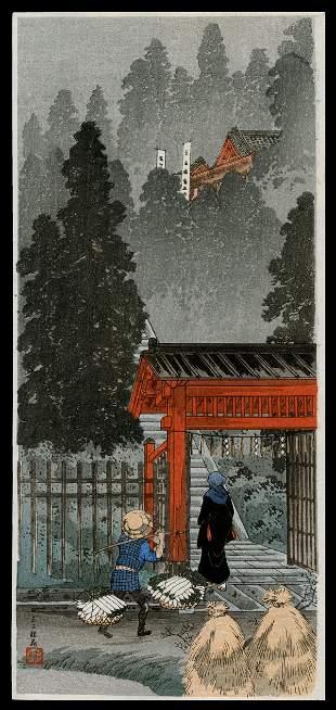 Shotei Hiroaki Woodblock - Inari Shrine at Oji