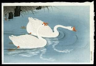 Ohara Shoson Woodblock - Two Geese Swimming near Shore