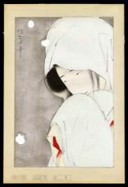 Kitano Tsunetomi Woodblock - Heron Maiden