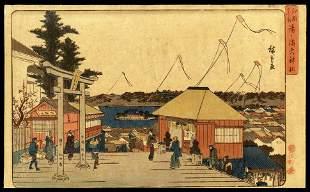 Ando Hiroshige Woodblock - Tenjin Shrine at Yushima