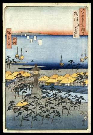 HiroshigeWoodblock - Settsu Province: Sumiyoshi
