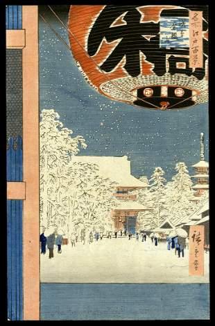 Ando Hiroshige Woodblock - Kinryuzan Temple, Asakusa