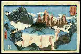 Ando Hiroshige Woodblock - Tateyama in Etchu Province