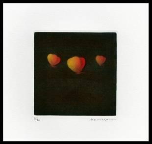 Hamaguchi Mezzotint - Three Butterflies (Orange)