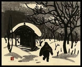 Kiyoshi Saito Woodblock - Winter in Aizu