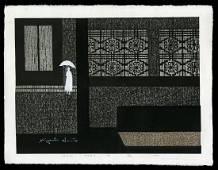Kiyoshi Saito Woodblock - Rain, Paris (B)