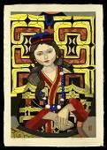 Jun'ichiro Sekino Woodblock - Ainu Pattern