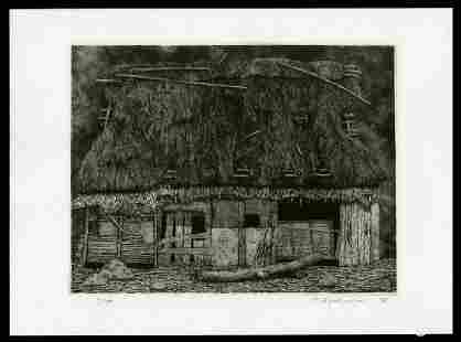 Ryohei Tanaka Etching - Ruined House No. 1