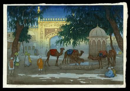 Charles W. Bartlett Woodblock - Peshawar