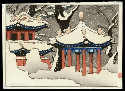 Pieter Irwin Brown Woodblock - Chinese Temple in Snow
