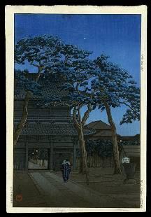 Kawase Hasui Woodblock - Sengaku Temple