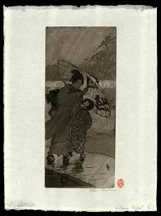 Helen Hyde Woodblock - A Rainy Night