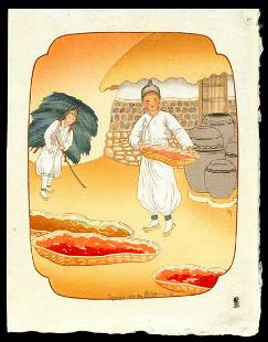 Lilian May Miller Woodblock - Drying Red Peppers