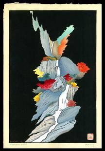 Lilian May Miller Woodblock - Rainbow Phoenix Waterfall